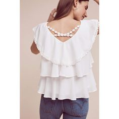 Eri + Ali Solenne Tiered Blouse ($88) ❤ liked on Polyvore featuring tops, blouses, ivory, tier top, ivory top, cross back top, sweater pullover and pullover top