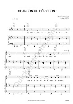 Partition Piano Chanson Du Hérisson - Emilie jolie