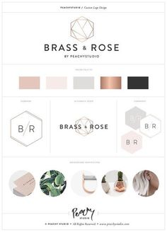 A color schemes interior Custom Logo Design Print Branding Package / Custom Branding Design / Business Branding Kit - Rose Gold Coper Geometric Minimal Example Business Branding, Branding Kit, Business Design, Brand Identity, Branding Ideas, Photography Packaging, Logos Photography, Design Logo, Graphic Design Branding