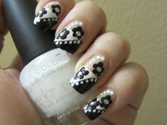 French Diagonal Floral Nail Design #black #flowers #nailart - See more nail looks at bellashoot.com & share your faves!