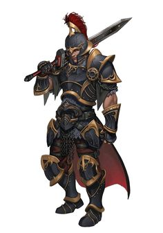 Male Human Gladiator Armor Fighter - Pathfinder PFRPG DND D&D d20 fantasy