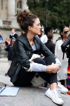 leather biker jacket, black skinnies, sneakers