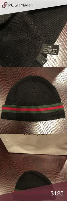 2a891d538fe Gucci Beanie size Large Gucci Beanie skull cap 💯 % authentic black with  Gucci insignia red