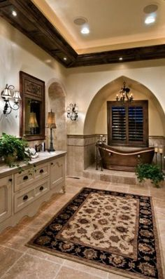 Combination of timeless beauty and sheer indulgence are said to be the basic components of the Tuscan bathroom design.Here are great tuscan bathroom ideas Dream Bathrooms, Beautiful Bathrooms, Luxury Bathrooms, Country Bathrooms, Tuscan Bathroom Decor, Bathroom Ideas, Bathroom Designs, Bathroom Wall, Bathroom Lighting