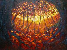 The Dryads Portal  A warm vibrant landscape painted in thick oil paint on a 3D canvas - edges painted dark to match - frame not necessary. It was inspired by the Ashdown Forest which I drive through almost daily. I like paintings that offer doorways to somewhere else. This one does that for me and I like that it it is both optimistic and yet a little sinister at the same time - just like life is
