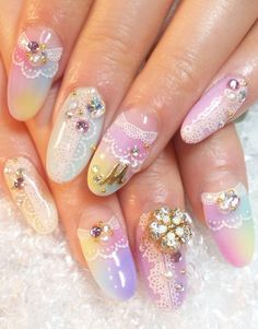 Cute nails 101 | Cuded... I like the colors, but I'll leave out the bling and almond shape