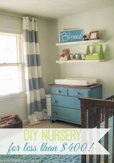 This cute little nursery was completely decorated for less than $400 - including everything from the furniture to the decor! So many great ideas here.