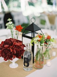 Wedding, Red, Centerpiece, Peonies, Burgundy, Lantern, Bottles, Milk, Picnic, Colleen zachary
