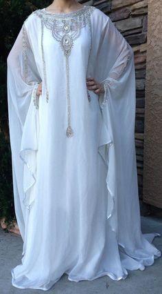 DUBAI VERY FANCY KAFTANS /abaya jalabiya Ladies Maxi Dress Wedding gown earing.