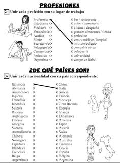 PROFES AL SERVICIO DE ELE: EJERCICIOS : PROFESIONES , NACIONALIDADES