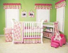 """Trend Lab Hula Baby Crib Bedding SetHula Baby is an exotic tropical floral print combining pink and green with pops of yellow and orange. Mini-waffle pique and super soft Sherpa fleece adds a perfect touch of texture. Features:• Crib set includes: 4 separate bumpers to fit any crib, framed coverlet that is a useful crib blanket, sage 100% cotton jersey knit sheet with deluxe 10"""" pocket, 15"""" long ruff..."""
