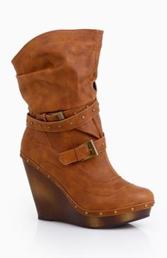 Buckle Wedge Boots :)