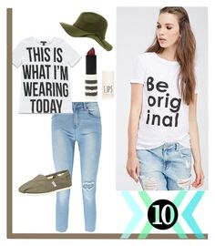 White Tees with Black Text Must be Good... by modesty-teen on Polyvore featuring Forever 21, Boohoo, TOMS and Topshop