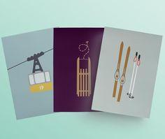 Postkarte mit GONDEL, SCHLITTEN & SKI