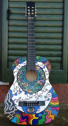 40 Beautiful and Creative Guitar Artworks - Bored Art Guitar Painting, Guitar Art, Music Guitar, Cool Guitar, Guitar Tattoo, Ukulele Art, Guitar Pics, Art Music, Painting Art