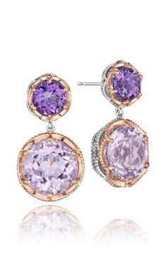 Tacori Blushing Rose Dual round gem stones in bold lilac Amethyst and crystalline Rose Amethyst sit atop one another for fresh, femininely styled signature earrings. Set in eye-catching rose gold bezels.- Damonds in the Library. Tacori Jewelry, Rose Jewelry, Amethyst Jewelry, Amethyst Earrings, Rose Earrings, Gemstone Jewelry, Jewelery, Purple Jewelry, Purple Earrings