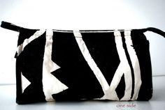 hand painted stripe triangle cosmetic bag / makeup bag / pencil case, DIY