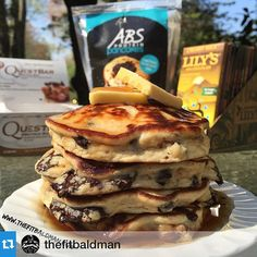 Chocolatey Buttery Healthy Protein Pancakes!! Oh my gosh yes this picture is real and yes you can eat it!  Click the image and check out this delicious recipe!