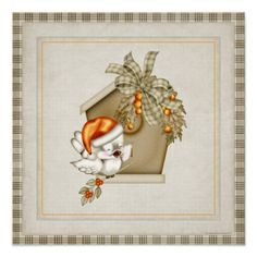 Pretty Bird & Birdhouse 4 Christmas Holiday Art