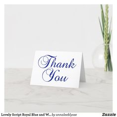 Lovely Script Royal Blue and White Thank You Card