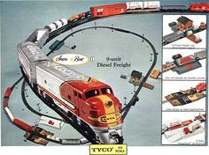 I'm pretty sure this is my train set, which I still have in its box.  I got it for  Christmas at Mam-maw & Pap-paw's. I played with it a little there, and then put it together once or twice at home.  I regret never mounting it on a board like I should have.