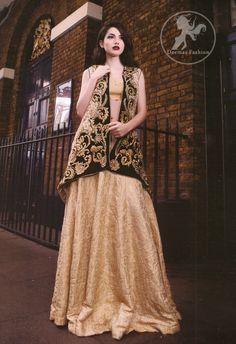 Light Golden Embroidered Jacket With Banarsi Blouse Lehenga