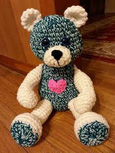 Prayer Bear Head: With green and mint yard together: Chain 2 Row 1: 6 sc in 1st stitch, place marker to designate end of each row. Row 2: 2sc in each stitch (12 sc) Row 3: (Sc in next sc, 2 sc in...