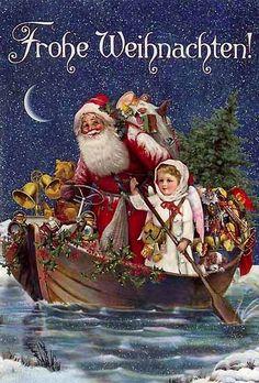 Merry Christmas in Germany German Christmas Decorations, German Christmas Traditions, German Christmas Ornaments, German Christmas Markets, Old Christmas, Christmas Scenes, Vintage Christmas Cards, Christmas Pictures, Merry Christmas German