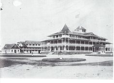Massapequa Hotel, Long Island, NY; ca 1910 - The Gilded Age left its mark on LI in large rambling wooden hotels, located at places we no longer think of as resorts. An example is this structure at Massapequa, then a notable holiday spot for fishing and shooting small game and marsh birds. Originally known as Fort Neck of South Oyster Bay, the name of this locale on the southeastern border of Nassau County was changed in 1890 to honor the Marsapequa (translated as Near-the-Great-Bay Indians…