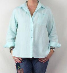 Pretty Chadwicks Light Blue Linen Blouse 12 L size Big Loose Fit Casual Shirt