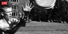 See Photos of an early version of frisbee on a college green in 1950