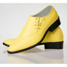 Buy Yellow Leather Lace Up Wedding Best Man Prom Dress Shoes Discount SKU-1100368
