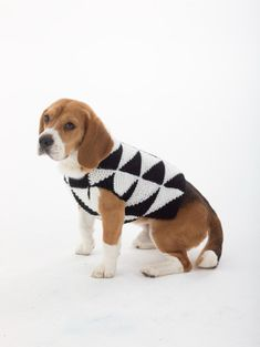 Inspired by modern art, this knit dog sweater is great for the pet (and owner) who is always on trend.  Knit the matching hat for yourself!