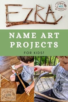 This creative name art project for preschool is surprisingly easy! Use a potato peeler to remove the bark from sticks to make this nature craft safe and fun for little kids. Easy Arts And Crafts, Crafts For Kids To Make, Projects For Kids, Kids Crafts, Educational Activities For Preschoolers, Name Activities, Preschool Name Crafts, Preschool Ideas, Name Art Projects