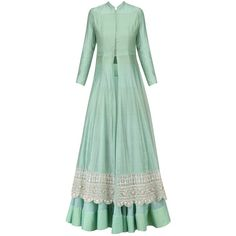 Mint hand woven maheshwari silk kurta and Lehenga available only at... ($1,220) ❤ liked on Polyvore featuring tops, mint green top, woven top, green silk top, mint top and silk tops