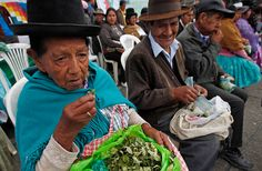 "Bolivian coca growers chew coca leaves during the so-called ""National day of coca leaf-chewing"" in La Paz, Bolivia, Monday March 12, 2012. Bolivia held a national campaign in defense of chewing the coca leaf, known locally as ""acullico,"" parallel to a request for the legalization of this practice which Bolivia's President Evo Morales will make at a UN meeting in Vienna, Austria. (AP Photo/Juan Karita)"