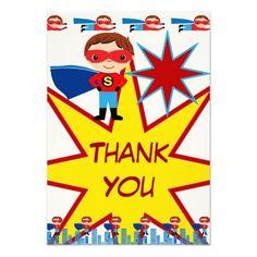 Superhero Kids Boys Birthday Party Thank You Cards Custom Invitations SOLD on Zazzle