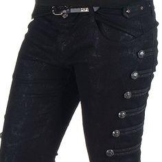 Pantalon Visual Punk Noir Élastique | Crazyinlove France