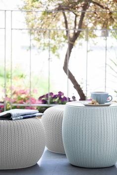 The Knit Pouf Small Space Patio Set comes with two knit poufs and a knit storage table. They are made from durable weather-resistance polypropylene for functional, long-lasting, and stylish seating and dining!