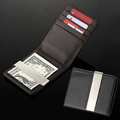 Personalized Gift Men's Black PU Leather Metal Money Clip (within 8 characters) – EUR € 15.63
