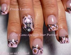 Pink Camo tips with Deer Portrait - Nail Art Gallery