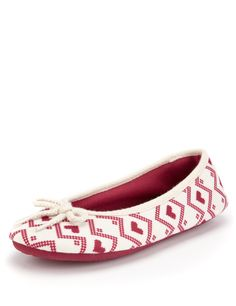 M&S Collection Fair Isle Ballerina Slippers