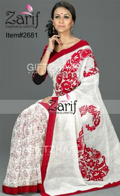 Half Silk Saree with Paisley Embroidery Cutwork http://www.bdcost.com/half+silk+sharees