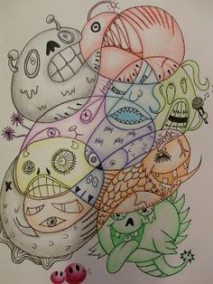 Monster doodles. Quick end of the year art project or sketchbook idea.