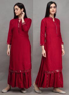 Kurta Designs Women, Blouse Designs, Salwar Kameez, Anarkali Kurti, Red Kurti, Stylish Kurtis, Designer Dresses, Designer Kurtis, Recycled Dress