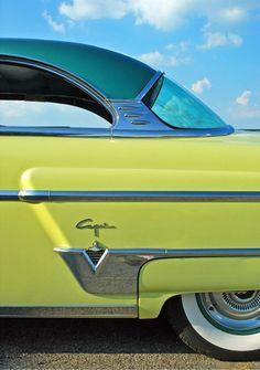1954 Lincoln Capri. turquoise + lime + white + silver