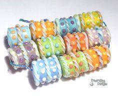 SUGAR RUSH Lampwork Beads Handmade Pastel by desertbugdesigns, $58.00