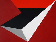 Hard-edge geometric abstract painting number 121. Acrylic on board. October 27 2014