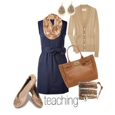 Blue sleeveless dress, neutral cardigan, scarf, flats.