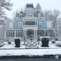 Favorite World Market Picks Beautiful blue Victorian house with amazing curb appeal